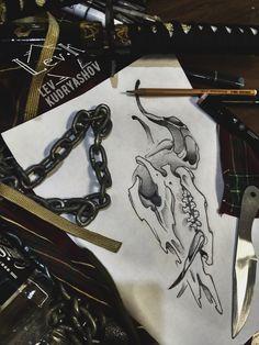 skull. sketch. fantasy. art.