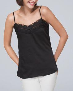 PRETTY LITTLE LACE CAMI - White House Black Market Lace Design, Black Square, Lace Tank, Pretty Little, Denim Fashion, Camisole Top, Feminine, Tank Tops, My Style