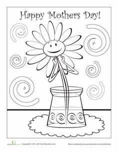 Worksheets: Happy Mother's Day Coloring Page