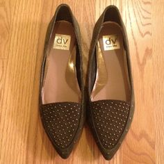 NWOT DV by Dolce Vita Studded Flat, Olive Suede NWOT / Store Display. Burnished studs jazz up a rich suede flat shaped with a sleek silhouette. Suede upper/ synthetic lining and sole. DV by Dolce Vita Shoes