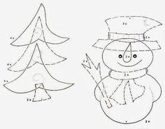 snowmen and christmas tree - mobile paper craft pattern Christmas Items, Christmas Crafts For Kids, Felt Christmas, All Things Christmas, Christmas Tree Ornaments, Applique Patterns, Craft Patterns, Quilt Patterns, Bastelarbeit Winter