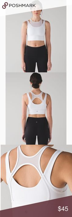 Lululemon Double Tap Bra White Size 8 Lululemon Double Tap Bra. Luxtreme white fabric with mesh overlay. Excellent like new condition. No signs of wear. Size 8 lululemon athletica Intimates & Sleepwear Bras