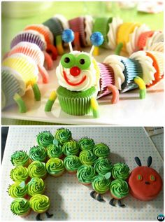DIY Pull Apart Caterpillar Cupcake Cake-20 Gorgeous Pull Apart Cupcake Cake Designs For Any Party