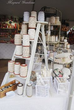 Step ladder in a craft room for holding supplies (the one in the pic is from a display)