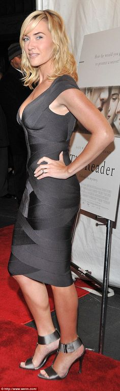 2008 - Lean, bronzed and poured into a Herve Leger bandage dress and Roger Vivier sandals for The Reader premier