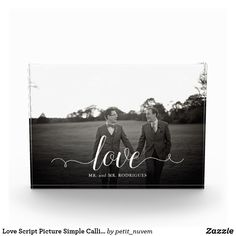 Gay Wedding Photo Blocks | love script wedding day photo display