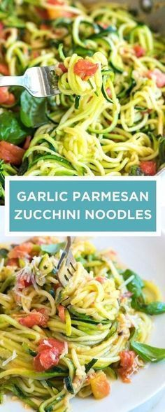 This is my current favorite way to cook zucchini noodles! Zoodles or long spaghetti-like strands made from zucchini is light on the carbs and still delicious (especially when they are cooked with a sauce made from tomatoes, garlic and fresh basil keto Cook Zucchini Noodles, Zucchini Pasta Recipes, Zoodle Recipes, Spiralizer Recipes, Diet Recipes, Vegetarian Recipes, Cooking Recipes, Cooking Games, Vegetarian Food