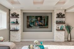 This basement remodel utilizes color to bring the space to life. It features a home theater, home gym, bathroom and wet bar. Small Basement Design, Basement Layout, Basement Windows, Basement Walls, Basement Ideas, Basement Designs, Basement Fireplace, Basement Makeover, Basement Bathroom