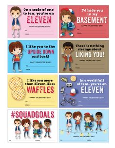 Stranger Things Valentines - Stranger Things Valentine Cards - Cute Stranger Things Valentines - Digital - Immediate Digital Download by DOODLEBOXdesigns on Etsy https://www.etsy.com/listing/493710472/stranger-things-valentines-stranger