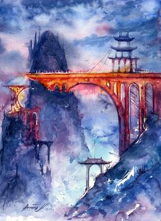 Legend about forgotten world. by annaarmona, aug 2014 in traditional ar Watercolor Art Landscape, Watercolor Art Diy, Watercolor Art Paintings, Watercolors, Canvas Paintings, Painting Art, Art Videos For Kids, Artists For Kids, Alphonse Mucha