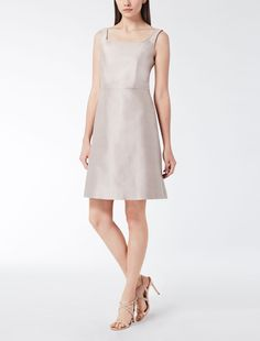 Max Mara ARETUSA hazelnut brown: Cotton shantung dress.