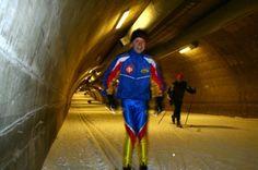 Ski tunnel at Vuokatti Sport (Sotkamo, Finland). Skiing indoors, even in summer time.