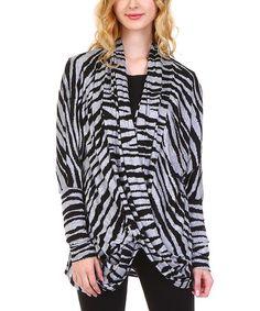 Black & Gray Zebra Crisscross Cardigan - Plus #zulily #zulilyfinds