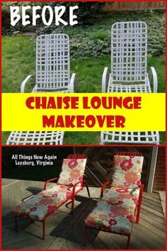 This spray-painting whiz took $10.00 chaise lounge chairs and upcycled them into something beautiful!