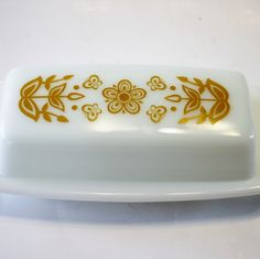 Vintage Butter Dish - Corelle Gold Butterfly Butter Dish by MyForgottenTreasures on Etsy