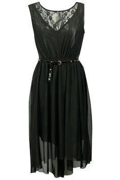 Dual-tone Belted Black Dress #Romwe