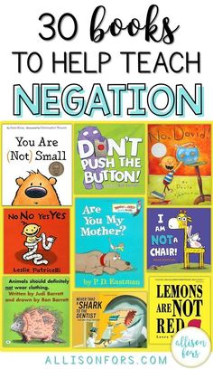 Negation is a critical part of language development that is targeted by SLPs in speech therapy. This is a common grammar difficulty found in emerging language. I rounded up some books that contain repetitive negatives to help teach the concept of negation expressively and receptively. Some clearly include negatives and others make it easy to talk about and teach negatives.