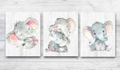 Baby nursery decor Gray pink Elephant print Elephant Wall Decor Elephant art Canvas Print Stickers Print Baby Girl Nursery Decor set of 3 by irinnadesign on Etsy Elephant Wall Decor, Elephant Art, Elephant Nursery, Pink Elephant, Baby Boy Nursery Decor, Nursery Canvas, Nursery Prints, Baby Wall Art, Baby Prints