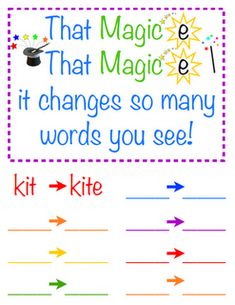 I love this magic e word work sheet. It will be great in literacy stations!