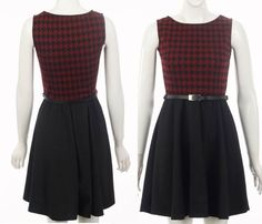 New Ladies Womens Girls Trend Black Dogtooth Tartan Houndtooth skater Dress Belt