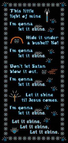 This Little Light of Mine - Children's Song to Cross Stitch Design Cross Stitch Designs, Cross Stitch Patterns, Let It Shine, Praise Songs, Christian Parenting, Whimsical Art, My Children, Joyful, Satan