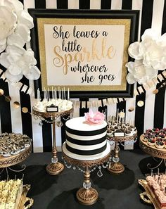 Color Party Trend for Trend 3 Kate Spade Party. Achromatic - Color Party Trend Color sets t Kate Spade Party, Kate Spade Cakes, 30th Birthday Parties, Birthday Celebration, Cake Birthday, 60th Birthday Ideas For Mom Party, Elegant Birthday Party, Birthday Party Decorations For Adults, Retirement Party Decorations