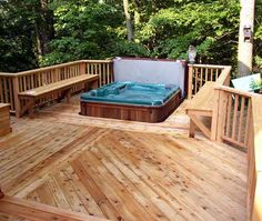 Jacuzzi built into deck with benches