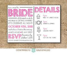 Printable bachelorette invite. Simply download and print. Click through for matching games, decorations, and more. Or shop our 1000+ designs for all of life's journeys. Shop for anniversaries, birthdays, weddings, and more. If you celebrate it, we can design it. Only at Aesthetic Journeys. 2m