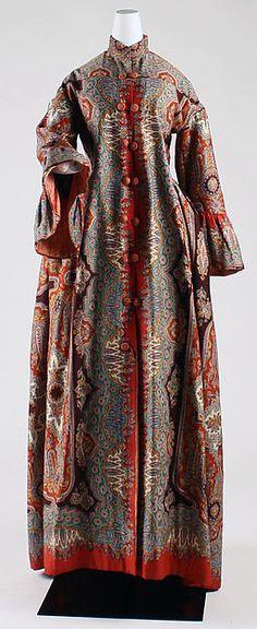 Dressing gown ca. 1885 American wool, silk