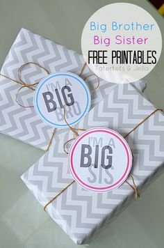 Check out these fun older sister/brother tags! Perfect for adding tags to gifts, or as a button for them to wear to the hospital to meet the new baby!