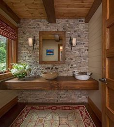 Lake House Bathroom, Cabin Bathrooms, Rustic Bathrooms, Rustic Bathroom Vanities, Dream Bathrooms, Washroom, Bathroom Cabinets, Bathroom Wall, Rustic Bathroom Designs