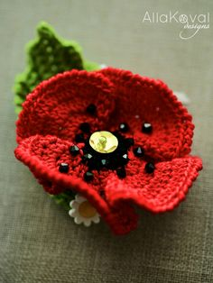 Garden Party. POPPY Pin/Headband Crochet Pattern/eBook