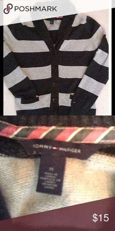 TOMMY HILFGER Sweater Soft & comfy TH striped sweater with emblem on sleeve. Previously loved with no holes, stains etc. great for fall ! Tommy Hilfiger Sweaters Cardigans