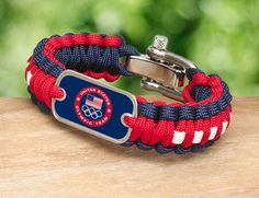 Survival Straps is proud to now offer officially licensed US Olympic Team gear! We offer men's and ladies bracelets, key fobs, neck id's lanyards, gear tags, and necklaces. We have 5 different versions for all the products. All our Team USA gear is made in America from super strong military spec paracord and an authentic military dog tag and is available on our website http://www.survivalstraps.com/team-usa.html $34.95