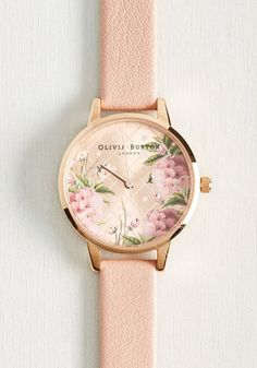Hours Turn to Finesse Watch. In the list of things that only get better with time, this Dot Design Floral watch by Olivia Burton ranks at the top! #gold #prom #modcloth