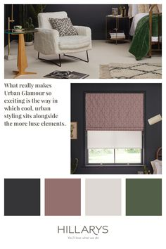 An Urban Glamour look is cool and edgy, so Nexus Blush Roman blind is the perfect abstract, geometric prints. Semi-sheer Xavier White Roller blind is layered over this Roman blind is has a zig-zag pattern gaving the sheer fabric a subtle depth and to add texture. See how to get the Urban Glamour look. White Roller Blinds, Luxe Boutique, Blue Interiors, Geometric Prints, Zig Zag Pattern, Sheer Fabrics, Interior Inspiration, Blush Pink, Roman