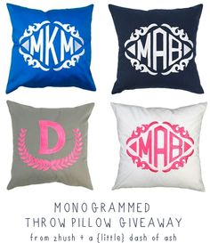 monogrammed throw pillow giveaway via Zhush at a {little} dash of ash