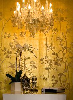 Portobello Design in full custom monochromatic colours on 22 carat gold gilded silk