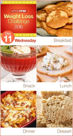 Day 11 Meal Plan Recipes – Weight Loss Challenge for Weight Watchers - Sweet Corn Cakes, Yogurt Fluff, Chicken Salad, Ziti with Ground Beef, and Mallow Crispy Treats
