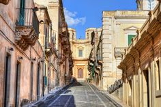 Street in old city of Noto in Sicily. Siracusa Sicily, Luxury Holidays, Architecture Photo, Old City, Image Now, The Good Place, Royalty Free Stock Photos, Street, Places