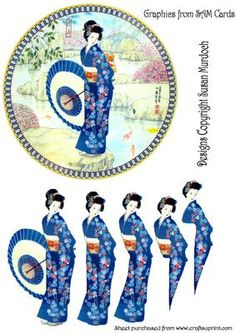 - Circular plate shaped card with beautiful oriental lady to decoupage. Makes a stunning card for any occasion! Decoupage Plates, Decoupage Printables, 3 D, 3d Sheets, 3d Cards, Journal Covers, Printable Paper, Collage Sheet, Hobbies And Crafts
