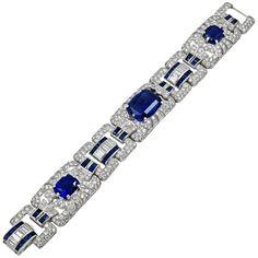 Art Deco Diamond and Sapphire Bracelet | From a unique collection of vintage more-bracelets at https://www.1stdibs.com/jewelry/bracelets/more-bracelets/