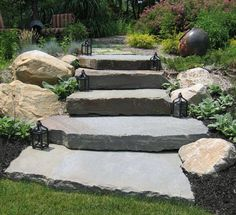 """Image detail for -Staggered natural stone steps lead to perennial garden. = I would prefer rectangles instead of """"free form"""" steps. Stone Stairs, Stone Walkway, Landscape Stairs, Landscape Design, Home Landscaping, Front Yard Landscaping, Patio Steps, Garden Stairs, Outdoor Stone"""