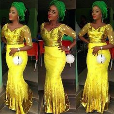 Aso Ebi Styles 2016 : Green and Yellow Colour Combinations Aso Ebi Styles - See more at: http://www.dezangozone.com/2016/05/aso-ebi-styles-2016-green-and-yellow.html