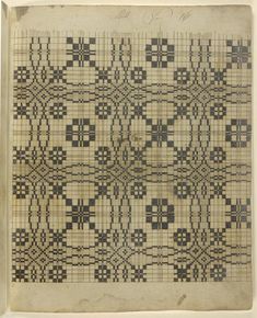 Philadelphia Museum of Art - Collections Object : Weaving Pattern Manuscript Weaving Designs, Weaving Patterns, Textile Patterns, Quilt Patterns, Knitting Patterns, Graphic Patterns, Vintage Patterns, Black And White Quilts, Graph Design