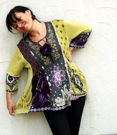 LXXL Gyspy romantic hippie boho recycled dress tunic by jamfashion, $89.00