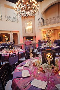 party pink and purple meets italian villa reception