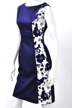 The Jackie Dress. Navy. Side View. 95% Gabardine 5% Damask, S, M, L, XL. Bridal, Prom, Red Carpet. Made in Toronto.