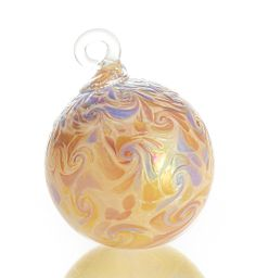 """Yuletide Treasure"" #art glass #ornament by Bryce Dimitruk. Eddies of gold and violet ripple across a shimmering backdrop of cream-colored blown glass. An @Artful Home exclusive."