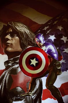 Captain America and Bucky Barnes by Gerald Parel.| Two Buckys for the price of one--Winter Soldier and Bucky-Cap.